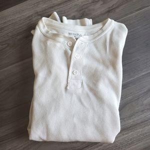 White waffleknit thermal shirt